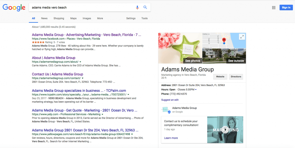 Adams Media Group Local Search Engine Results
